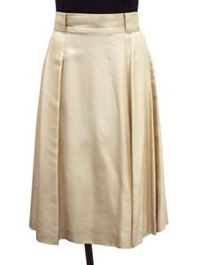 ボックスプリーツ シルクスカート