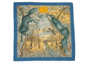 カレ90 カシミヤ&シルク スカーフ 【CHASSE au BOIS (森の狩猟)】【値下げ】