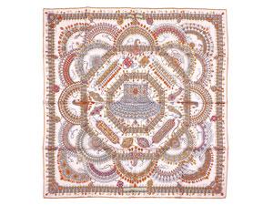 カレ90 スカーフ 【Parures des Maharajas (マハラジャの装身具)】