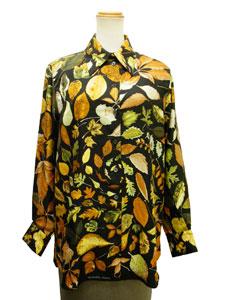 シルク長袖シャツ 【落ち葉柄】【値下げ】